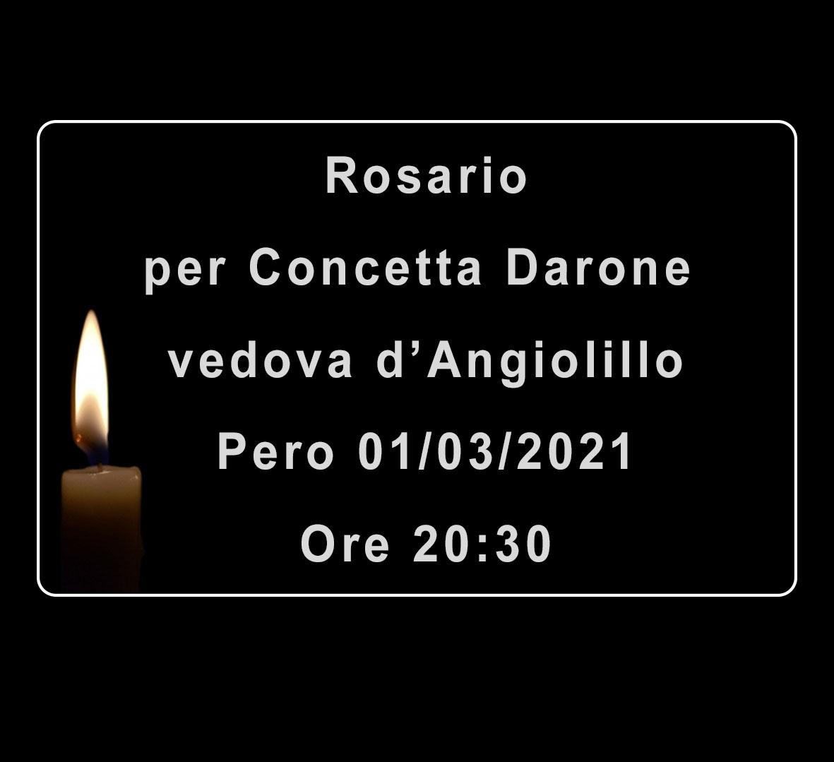Rosario per Concetta (Immacolata) Darone vedova d'Angiolillo
