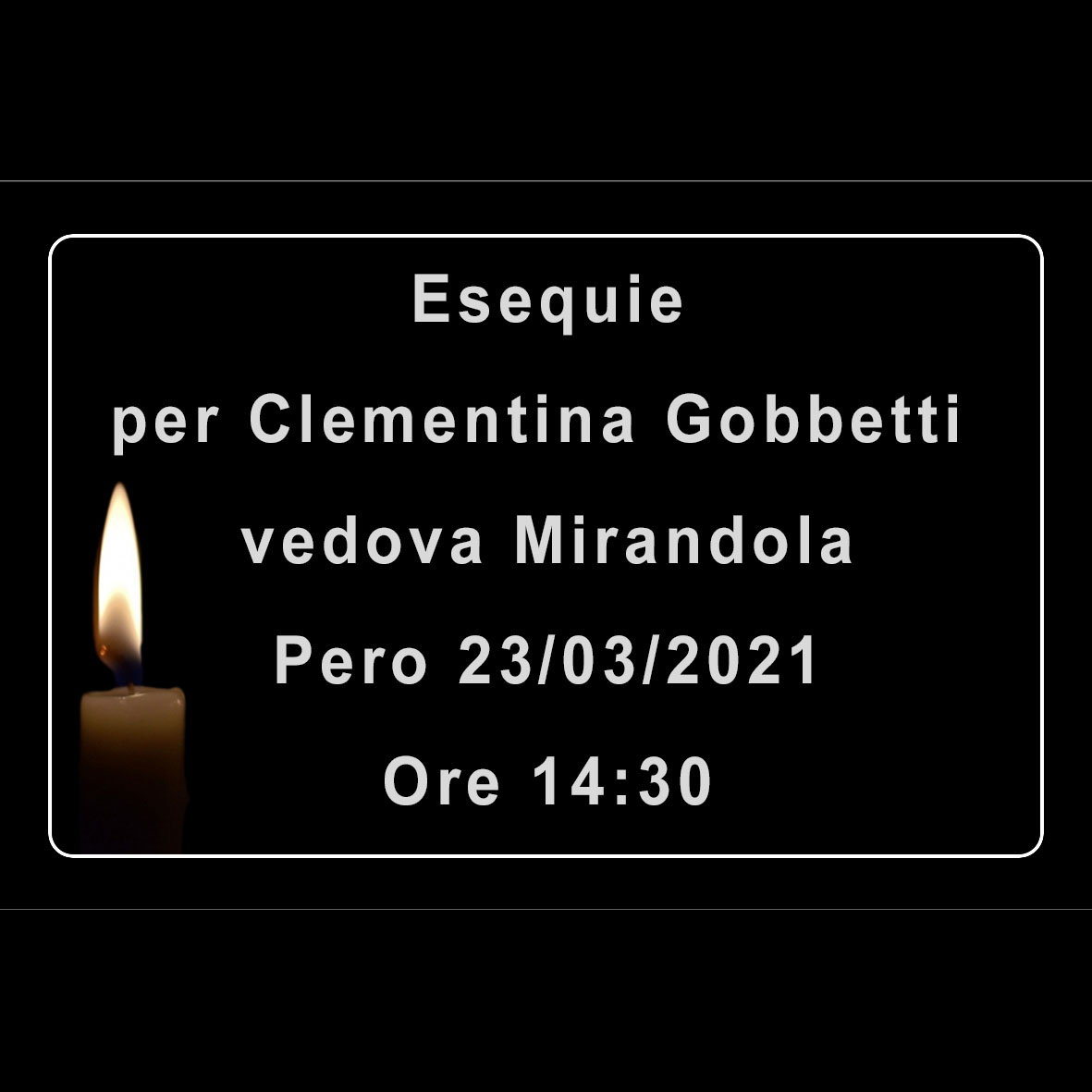 Esequie per Clementina (Alberina) Gobbetti vedova Mirandola